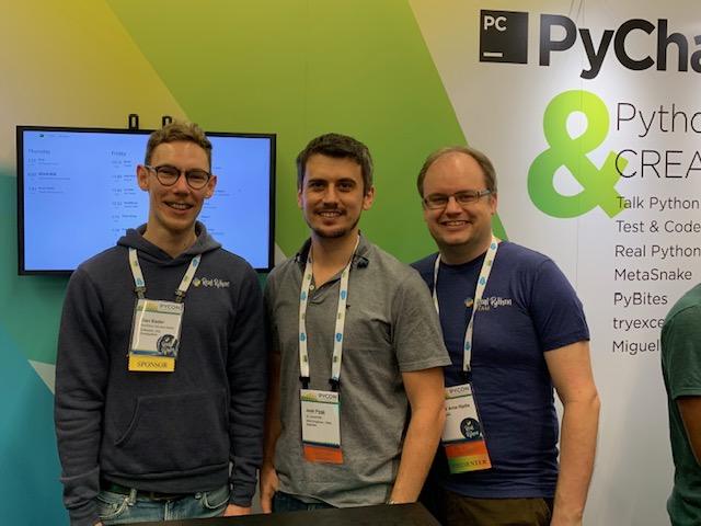 PyCon2019: Me with the Real Python team, Dan Bader and Geir Arne Hjelle